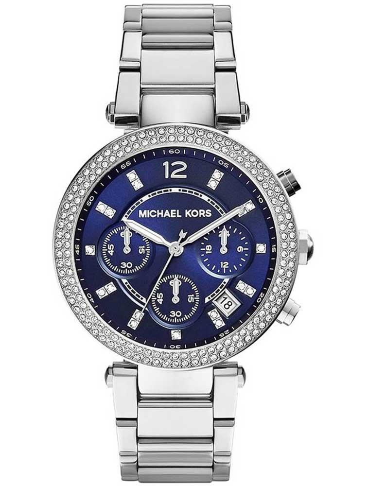 285a9cfa4a974 Montre bracelet MK6117 pour femme à quartz, avec une boîtier de acier  inoxydable d'un diamètre de 39 mm, avec un cadran bleu et avec un bracelet  de acier ...